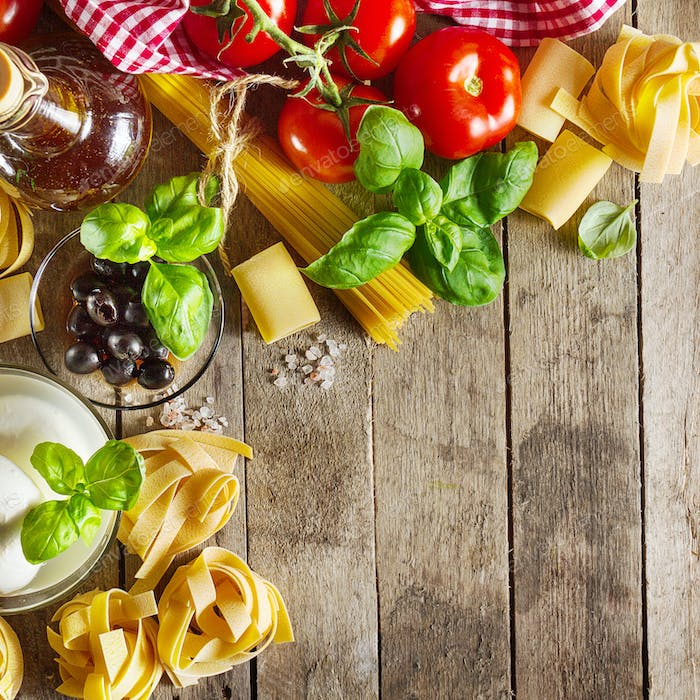 Tasty Colorful Fresh Italian Food Concept with Various Pasta Spa