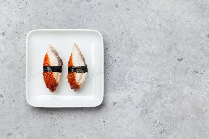 Japanese sushi set. Unagi