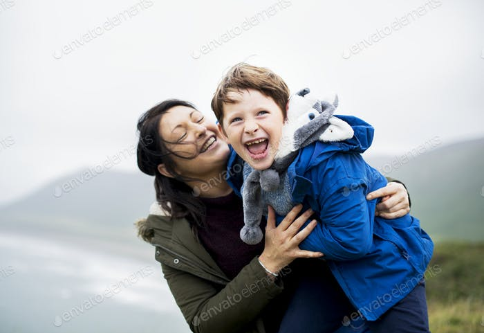 Happy mother and son enjoying together