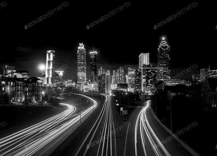 Atlanta skyline at night, high contrast