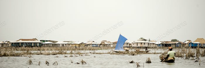 Stilt village of Ganvie in Benin