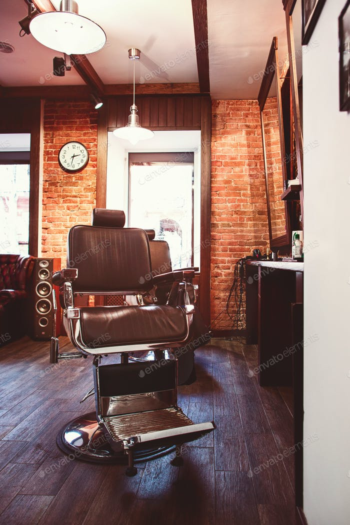 Vintage chair in barbershop