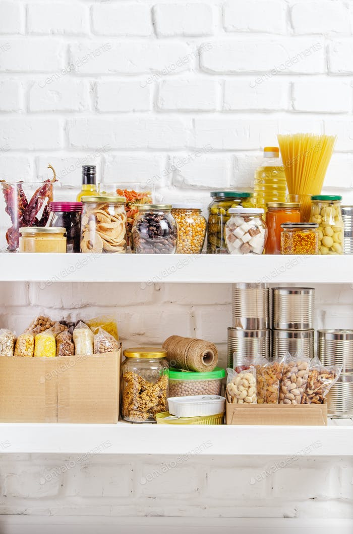 long storage term foods on pantry shelf