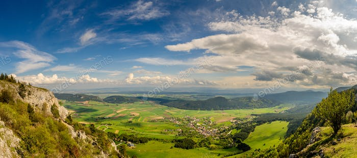 Panoramic view from Hohe Wand Nature Park in Lower Austria.