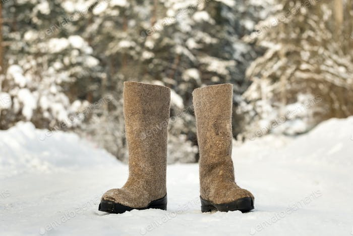 close up of felt boots standing in the snow