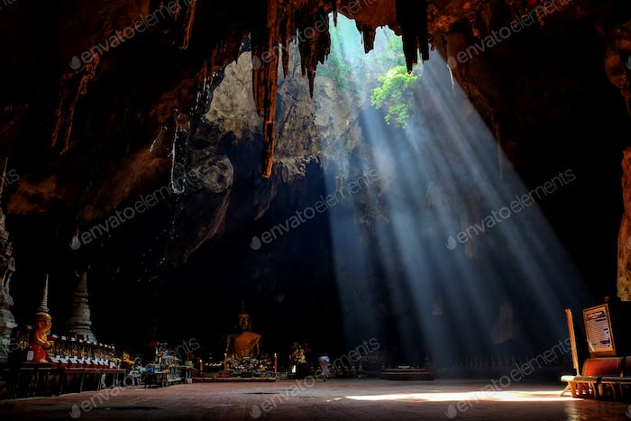 Amazing light in Khao Luang Cave in Phetchaburi Province,Thailan