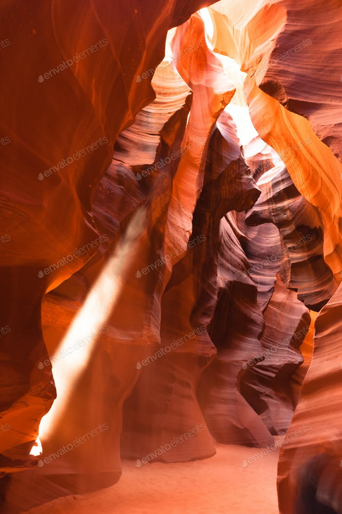 Sunlight Beams into Antelope Slot Canyon Arizona