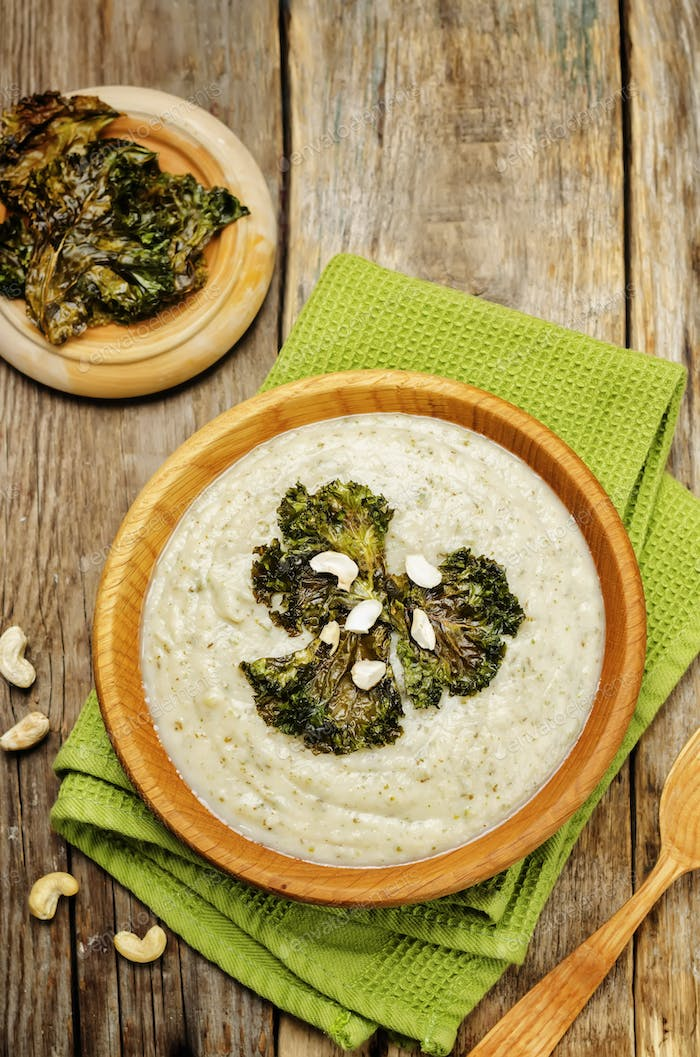 cauliflower kale soup with kale chips and cashews