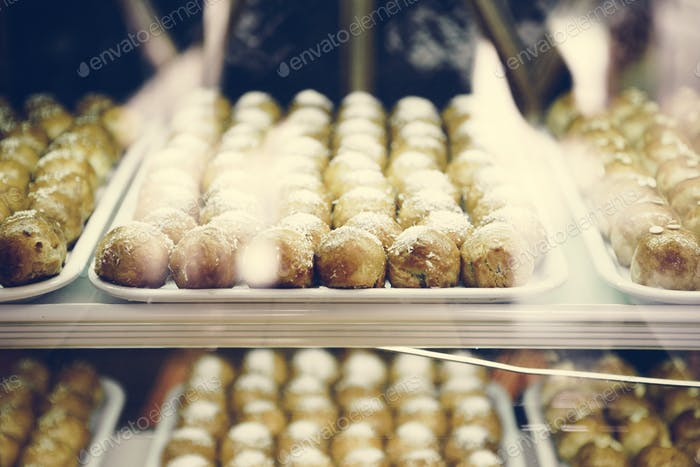 Chinese pastries in display showcase