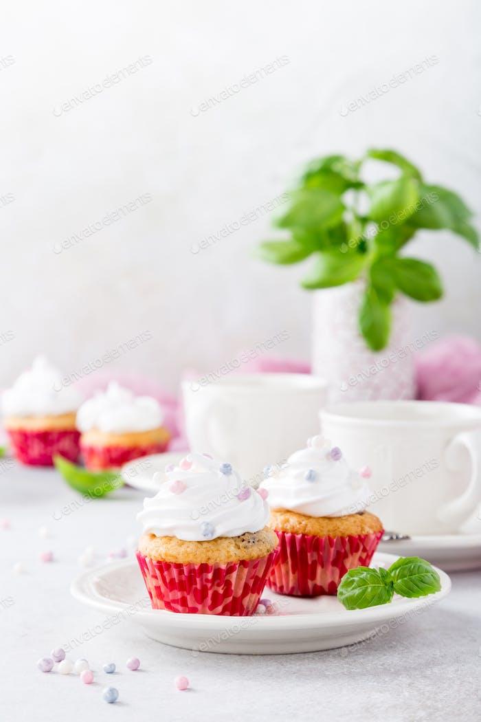 Vanilla cupcakes with white cream