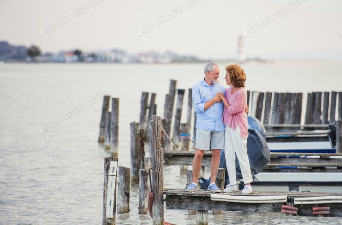 Senior couple on a holiday standing by the lake, talking