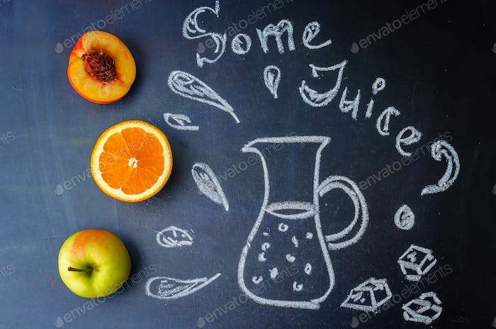 Peach, orange, Apple fruits with words some juice is written wit