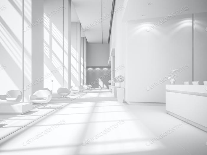 White Interior of a hotel spa reception 3D illustration