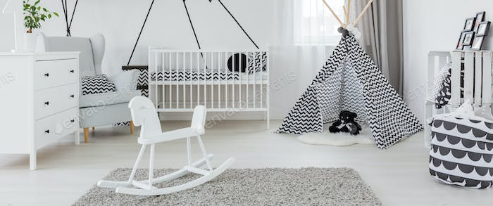Spacious bright baby room