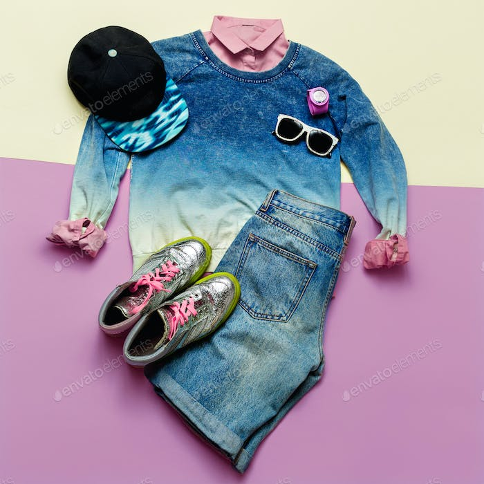 Set Urban Style Fashion Denim clothing and accessories Cap Glass