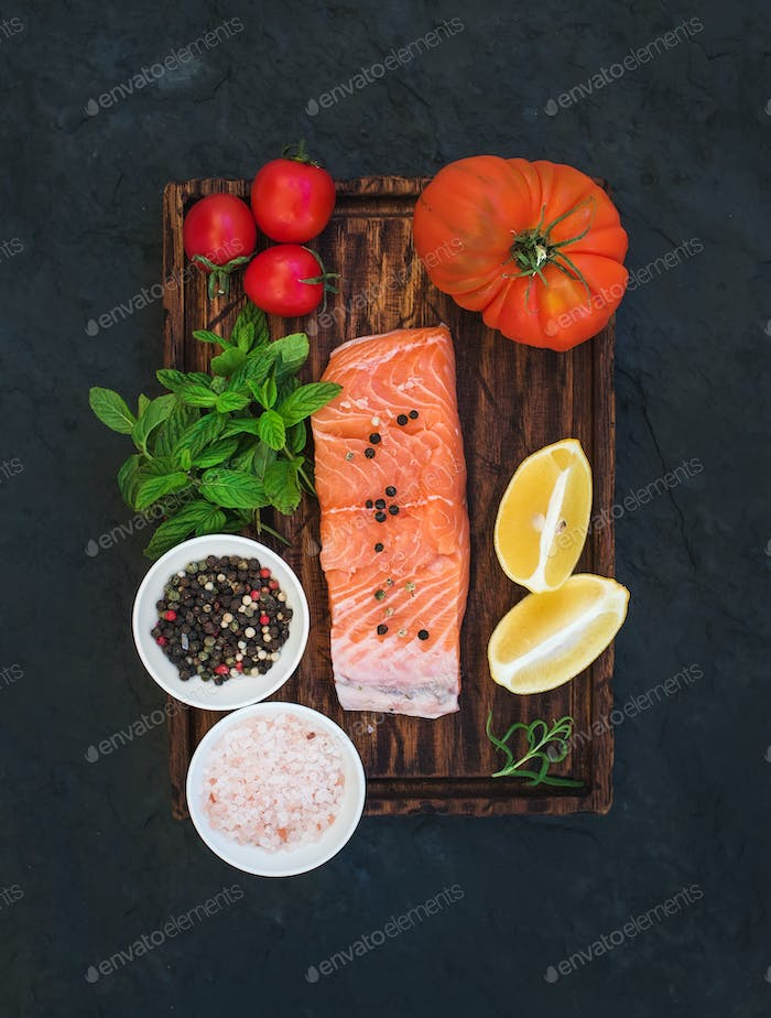 Ingredients. Raw salmon filet, lemon, cherry and heirloom tomatoes, fresh mint, spices