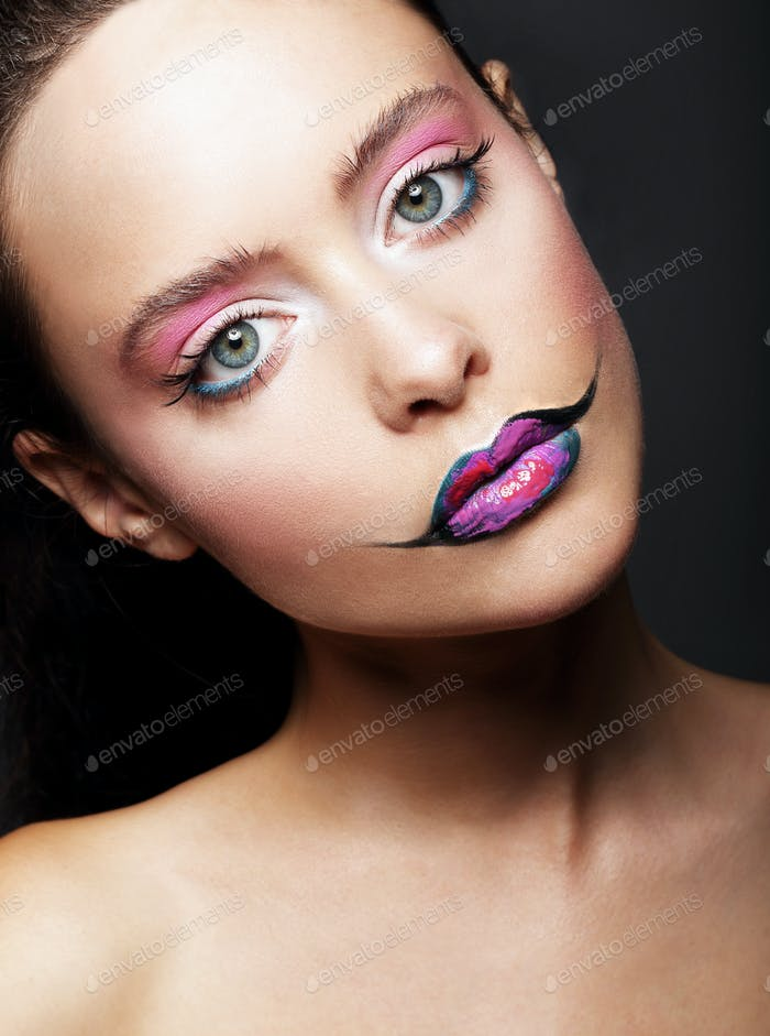 Fashion model with colorful makeup