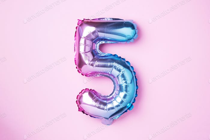 Creative layout. Rainbow foil balloon number and digit five 5.