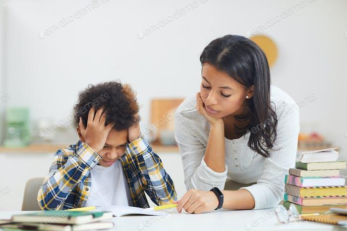 African-American Boy Struggling in School