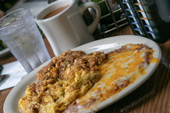 Machaca of egg omelette and beans