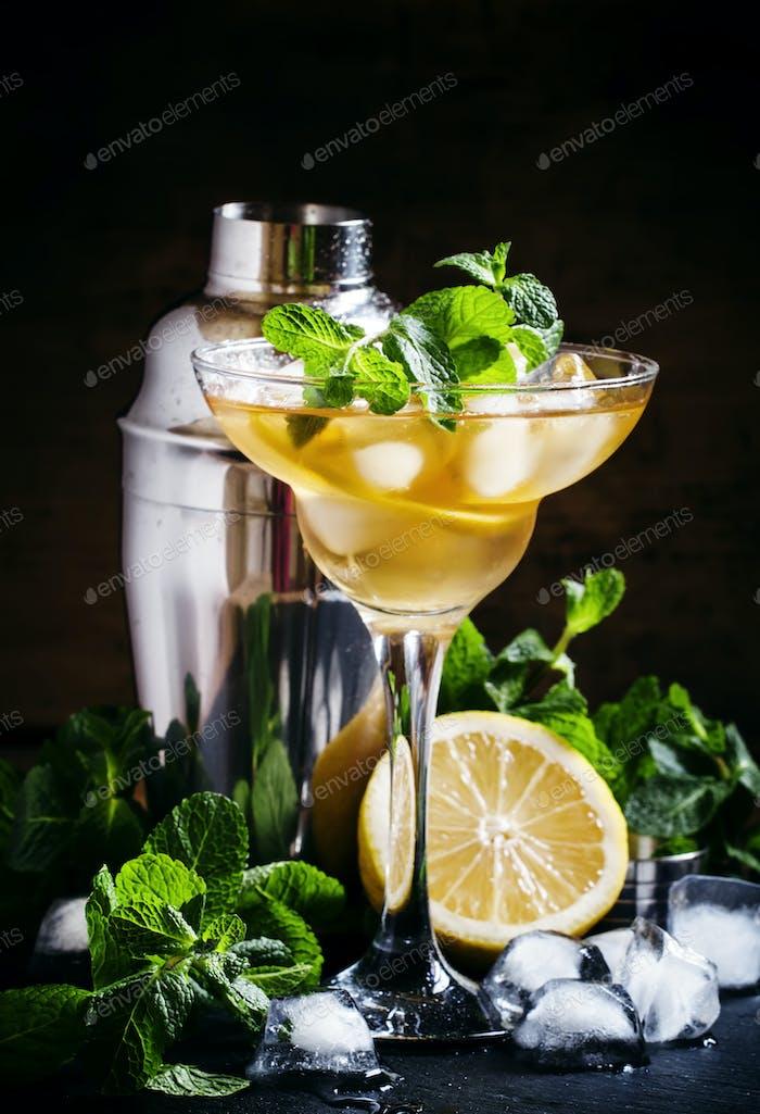 Französischer Daiquiri, Alkoholcocktail mit Zitronensaft, Zuckersirup, Cognac, Minze und Eis