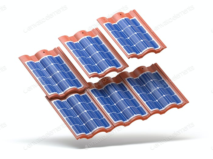 Solar panels integrated in roof tiles or shingles isolated on wh