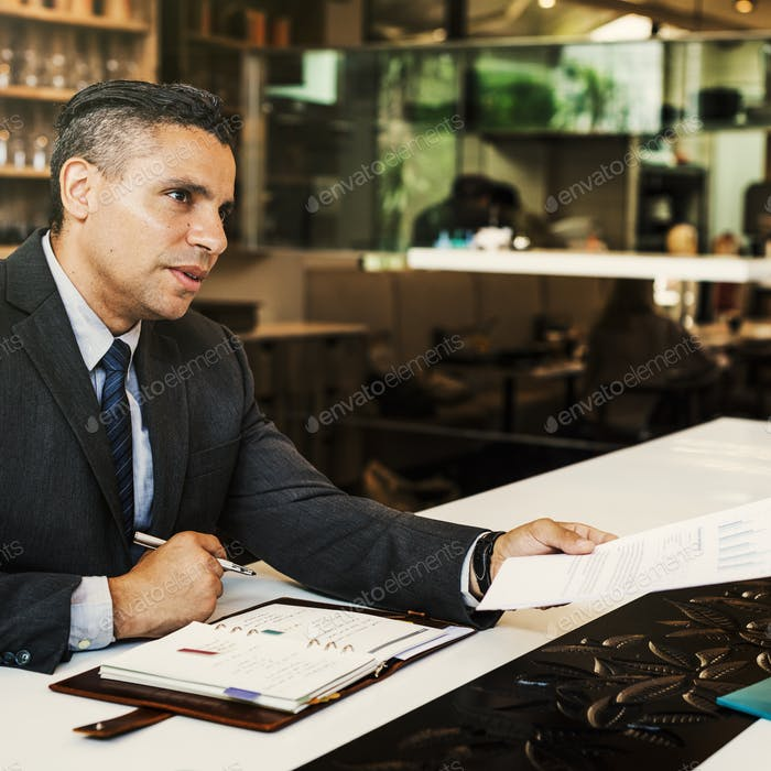 Business Man Handing Out Report Restaurant Table Concept