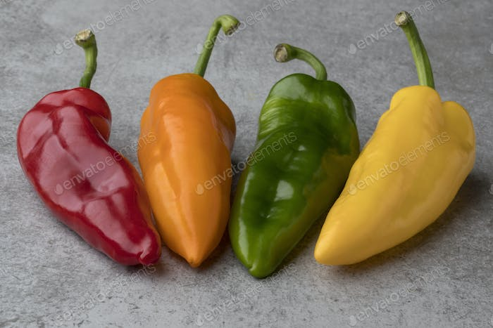 Fresh colorful variety of sweet pointed peppers