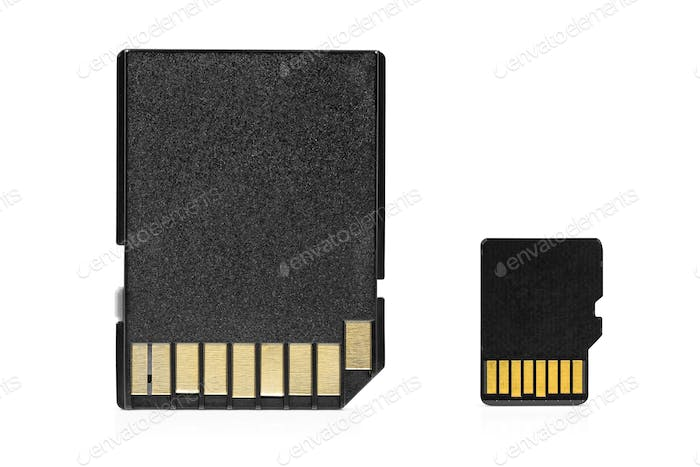 MicroSD memory card with adapter on white background