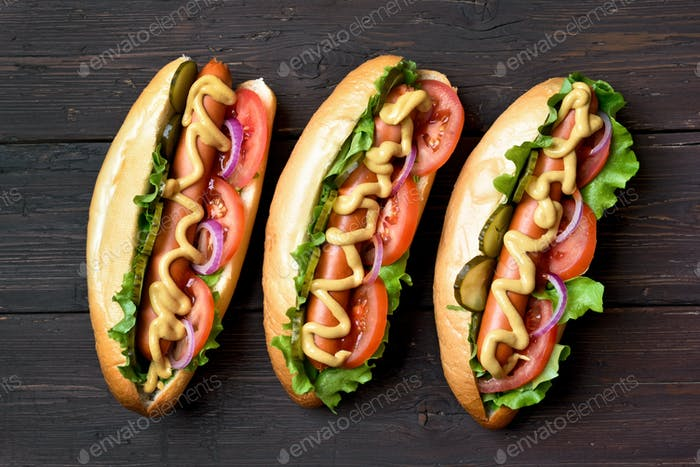 Hot dogs, top view