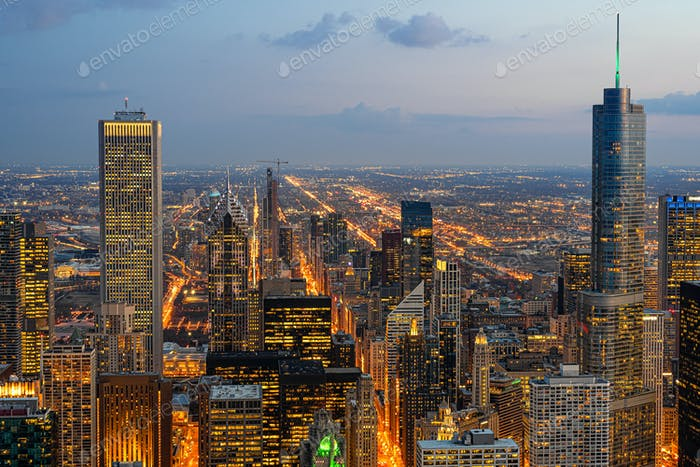 Top view building of Chicago cityscape at the night time, USA downtown skyline