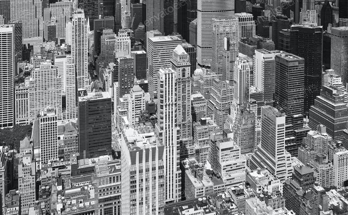 Black and white aerial picture of Manhattan skyscrapers, NYC.