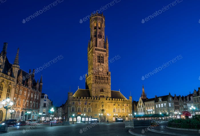 Brugges tower at night