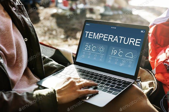 Temperatur Wettervorhersage Klimakonzept
