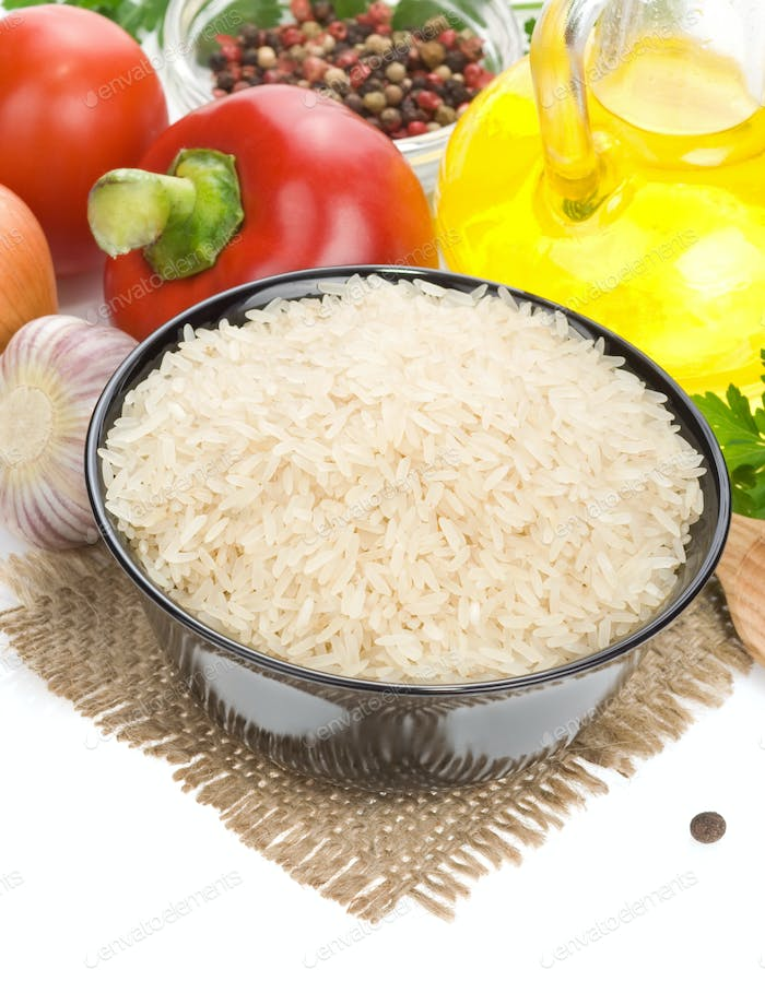 rice and food ingredient isolated on white