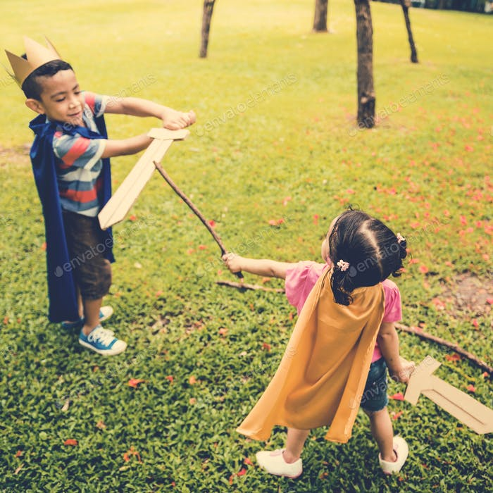 Brother Sister Elementary Childhood Kid Playful Concept