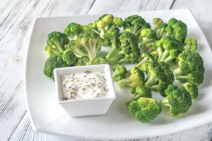 Cooked broccoli with greek yogurt