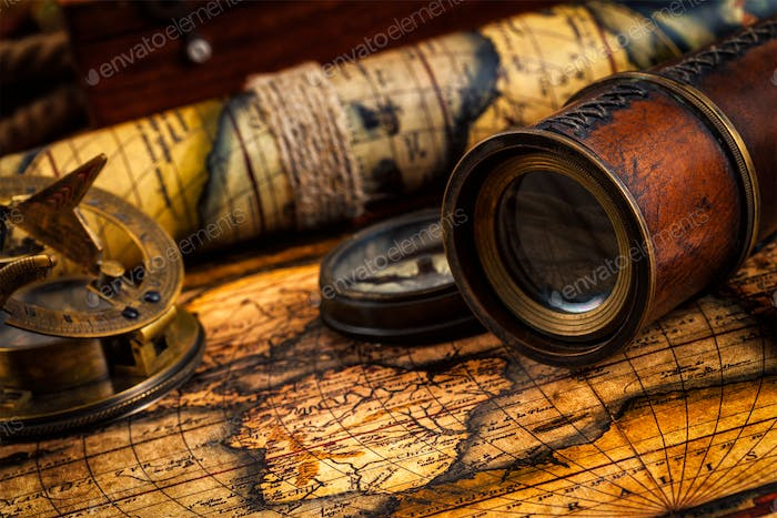 Thumbnail for Old vintage compass and navigation instruments on ancient map