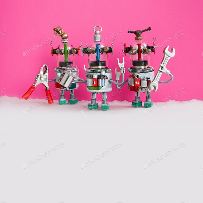 Three funny handyman robots ready for maintenace and repair. Robotic characters with pliers hand