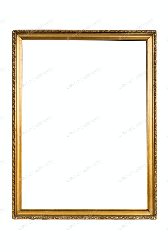 Decorative golden picture frame isolated on white