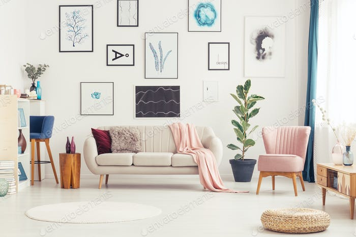 Spacious pink living room interior
