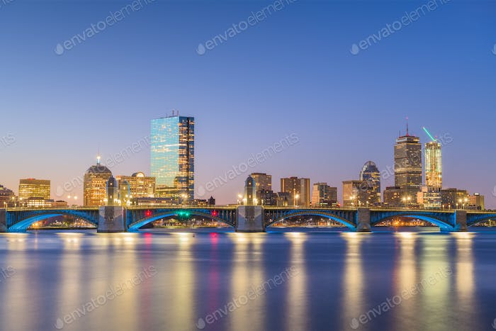 Boston, Massachusetts, USA skyline on the Charles River