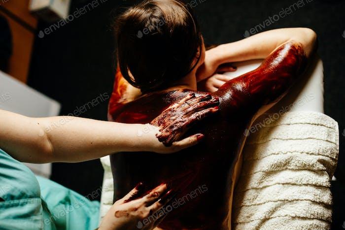 chocolate massage pampering body