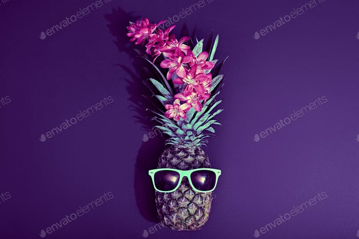Fashion Hipster Pineapple. Tropical Beach Party