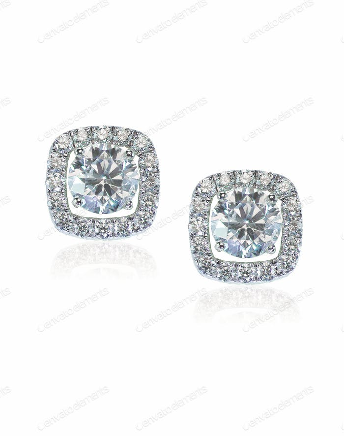 Beautiful Halo Diamond Stud earrings with reflection