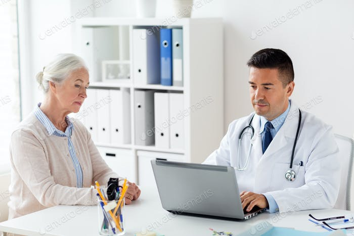 senior woman and doctor with laptop at hospital