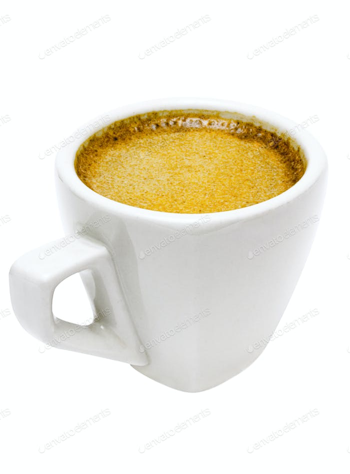 White Cup of Espresso with Clipping Path Isolated on a White Background