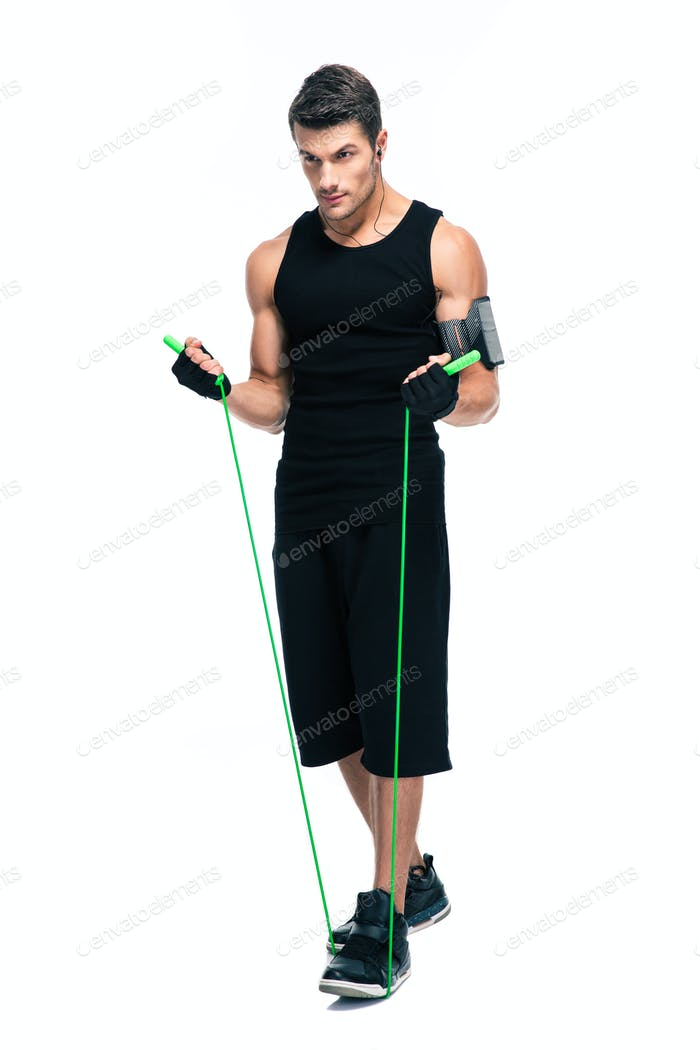 Handsome man with skipping rope