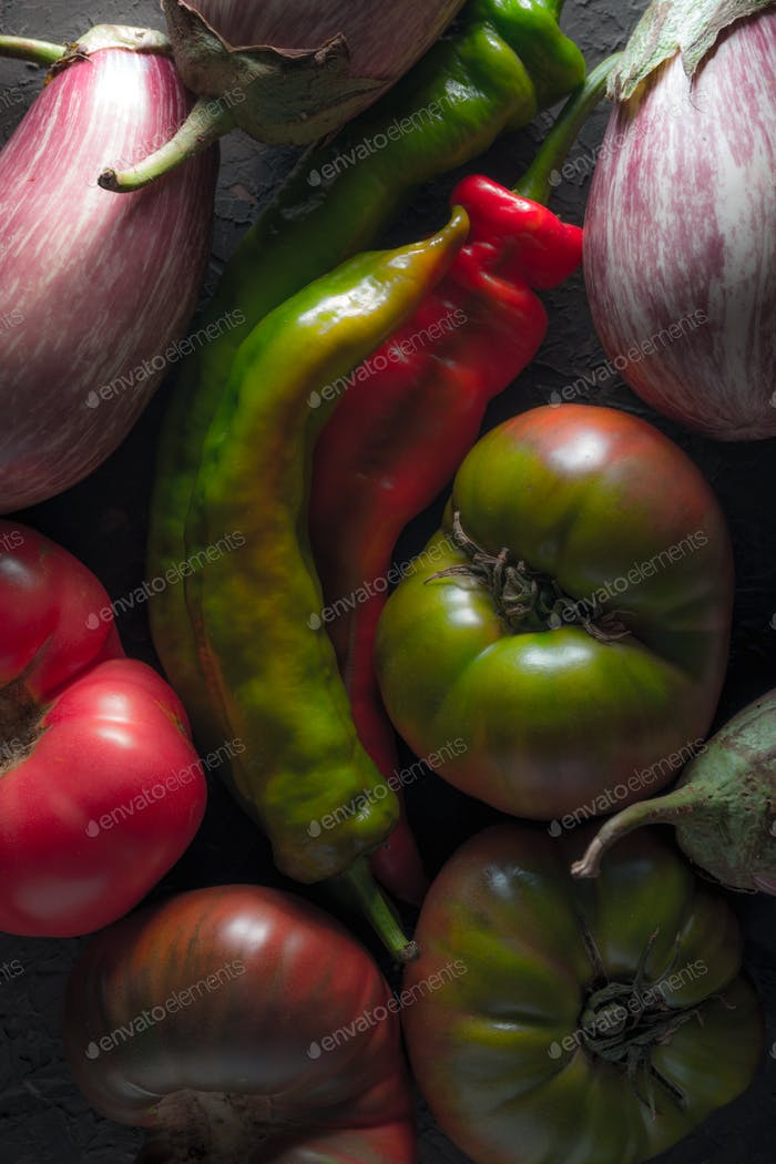 Background of multi-colored tomatoes, aubergine and chili