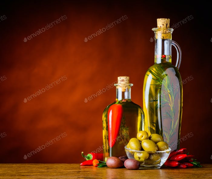 Olives with Virgin Olive Oil and Copy Space